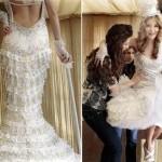Vestido de noiva com decote nas costas lindo e de crochê.