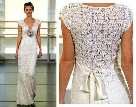 Vestido de noiva com o decote nas costas em crochê (Foto: Divulgação)