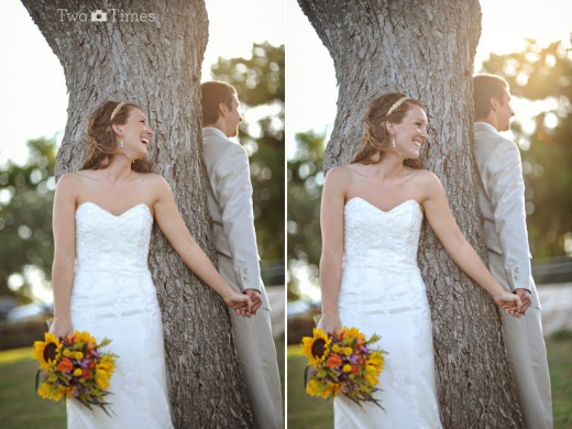 Dessa vez a árvore foi o esconderijo perfeito para os noivos não se olharem antes da hora (Foto: Divulgação)