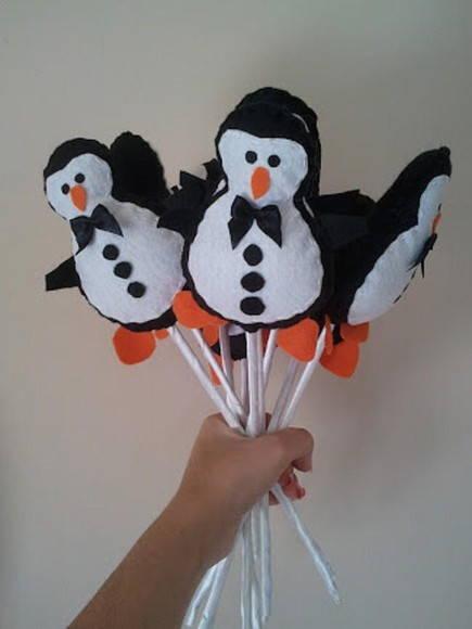 Buquê de pinguins para casamentos.