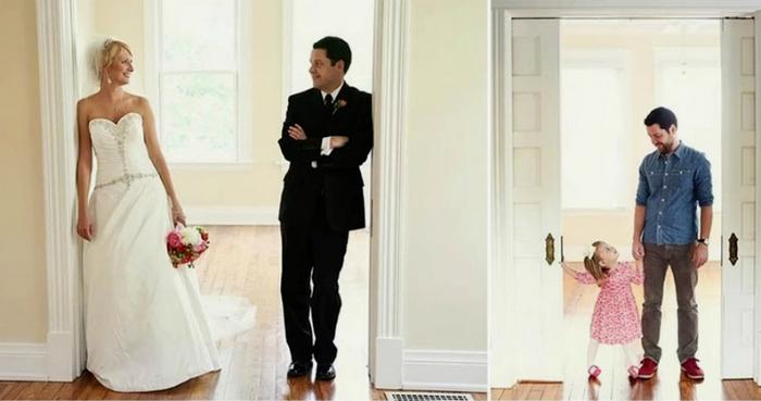 Viúvo recria com a filha de três anos as fotos tiradas no dia de seu casamento