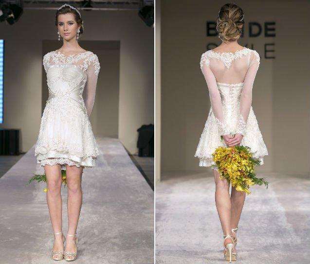 Modelos de vestido de noiva curto com camadas (Foto: Divulgação)
