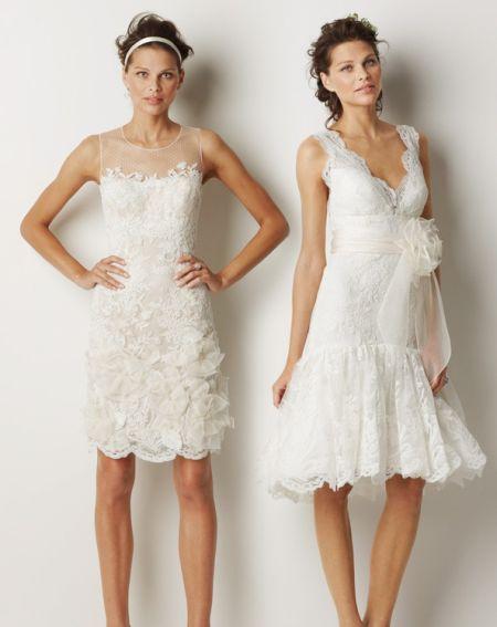 Modelos de vestido de noiva curtos, porém comportados (Foto: Divulgação)