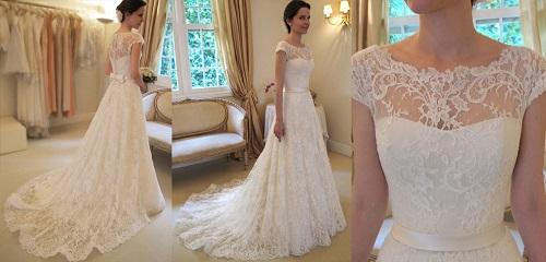 Modelo de vestido de noiva com renda  na saia (Foto: Divulgação)
