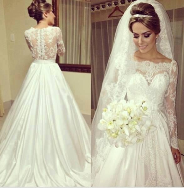 Modelo de vestido de noiva com renda mais fechado (Foto: Divulgação)