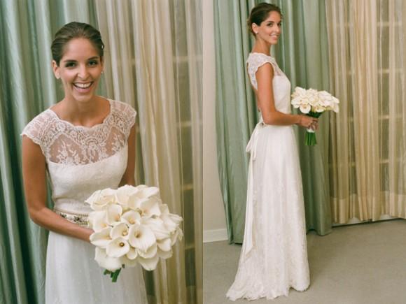 Modelo de vestido de noiva com renda delicada (Foto: Divulgação)