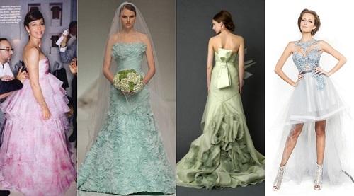 Modelo de vestido de noiva verde (Foto: Divulgação)