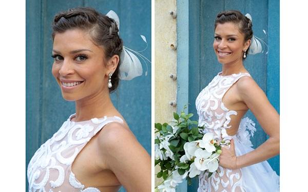 Modelo de vestido de noiva com renda de Grazi (Foto: Divulgação)