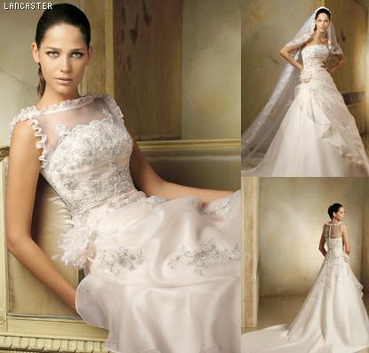 Modelo de vestido de noiva com renda na gola (Foto: Divulgação)
