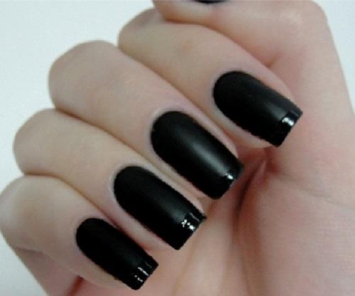 Unhas para casamento na cor preta fosca com francesinha em preto com brilho (Foto: Divulgação)