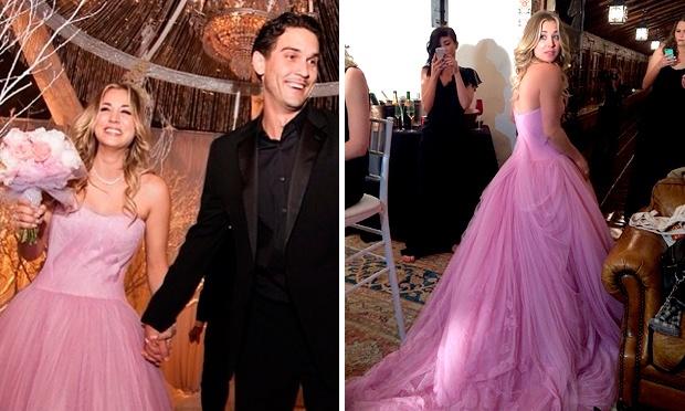 Kaley Cuoco e seu vestido rosa (Foto: Divulgação)
