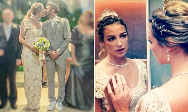 Luana Piovani, que se casou com Pedro Scooby, usou um vestido de noiva bordado (Foto: Divulgação)
