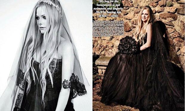 Avril Lavigne se casou com Chad Kroeger de preto (Foto: Divulgação)