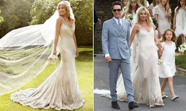 Kate Moss com vestido de noiva (Foto: Divulgação)