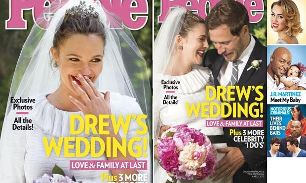 Drew Barrymore e seu vestido de noiva de babado (Foto: Divulgação)