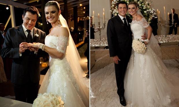 Mirella Santos com um vestido de noiva de princesa em seu casamento com Ceará (Foto: Divulgação)