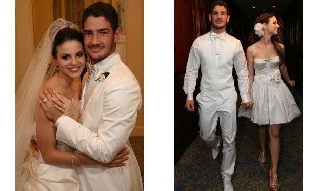 Sthefany Brito usou um vestido longo e outro curto no seu casamento com Alexandre Pato (Foto: Divulgação)