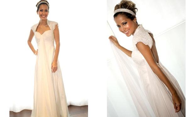 A atriz Maytê Piragibe usou um vestido de noiva bem fofo (Foto: Divulgação)