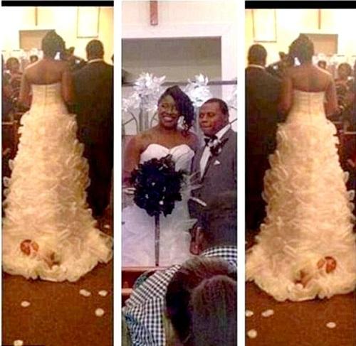 Reparem na cauda do vestido de noiva (Foto: Divulgação)