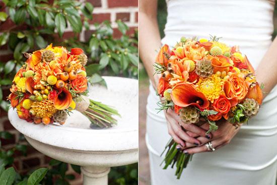 Origem e flores de buquês de casamento.