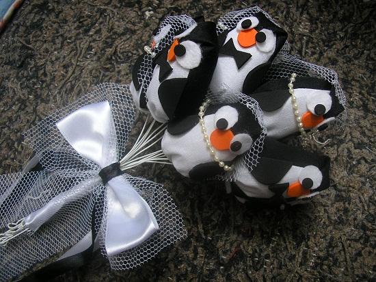 Bouquet de pinguim de noiva.