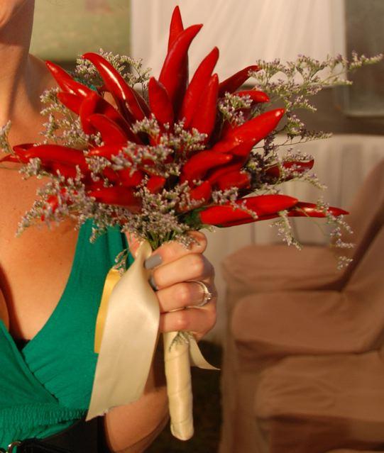 Bouquet de noiva de pimenta.