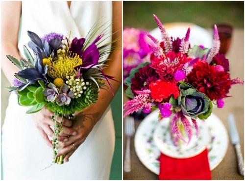 Bouquet de noiva com flores exóticas.