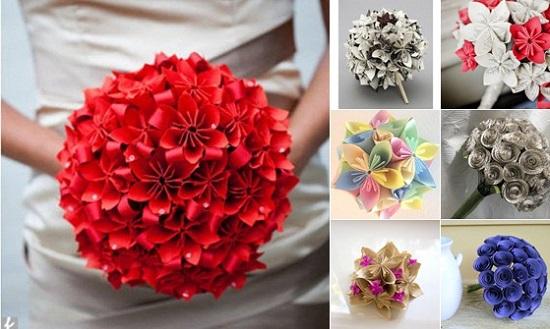 Buquê de noiva com flor vermelha