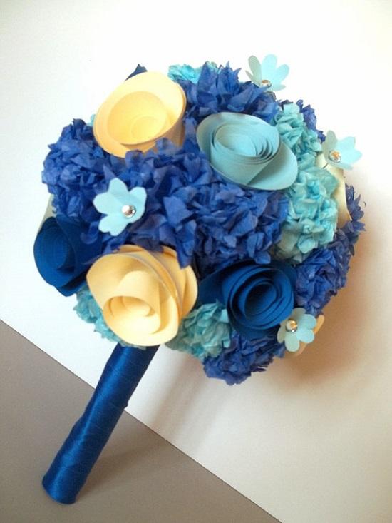 buquê de papel de noiva azul