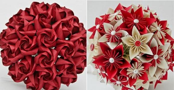 Buquê lindo e vermelho de papel