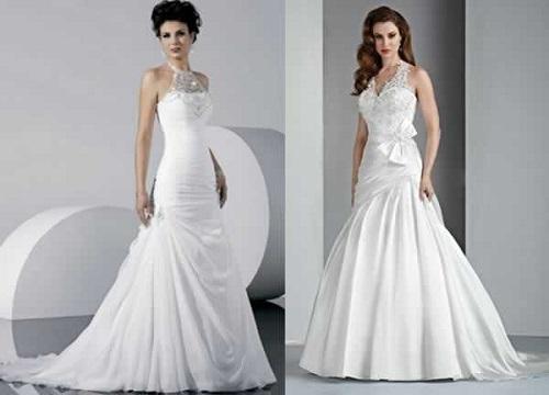 Vestido de noiva frente única com pedraria.