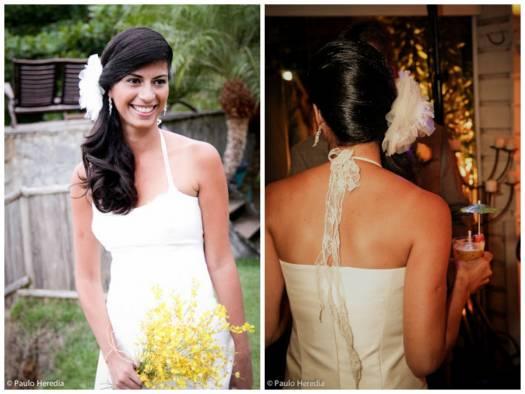 Vestido de noiva frente única simples.