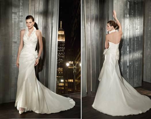 Vestido sereia de casamento com frente única.