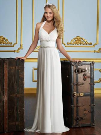 Vestido de noiva simples.