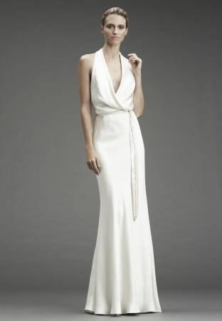 Vestido de casamento com frente única.
