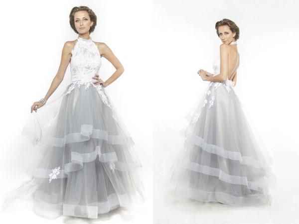 Vestido de noiva com saia esvoaçante.