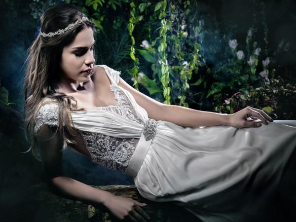 Vestido romântico de noiva.