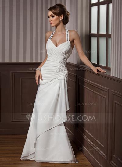 Vestido de casamento com alça cheia de brilho.