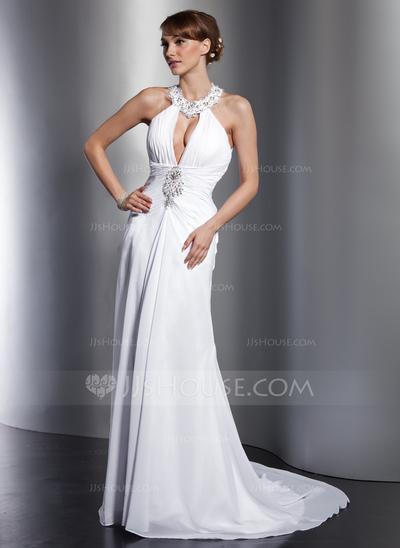 Vestido de casamento com decote grande e frente única.