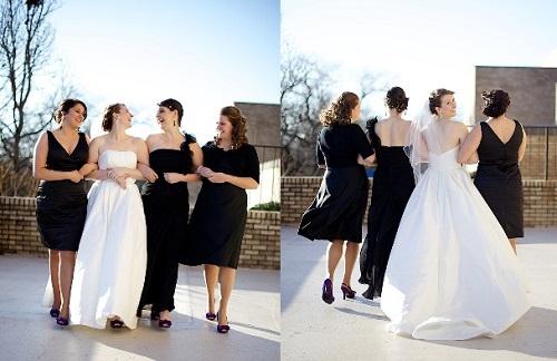 Vestidos de festa para madrinhas de casamento na cor preta não são de bom tom.
