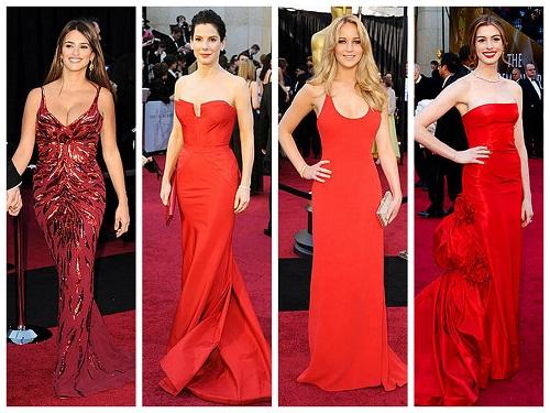 Vestidos de festa vermelho com decotes diferentes.