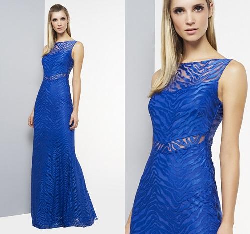 Vestidos de casamento azul com recortes no decotes.