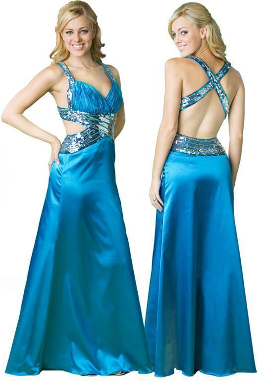 Vestido de festa azul com trançado nas costas.