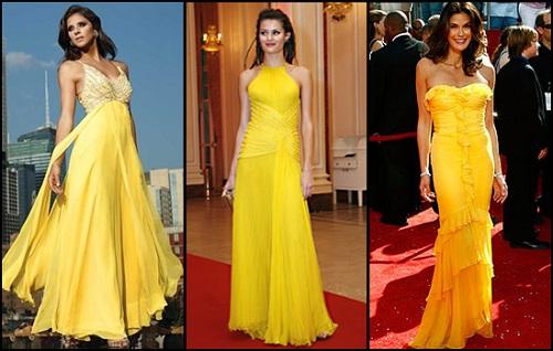 Vestido de casamento amarelo.