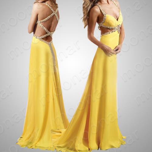 Vestido de casamento com trançado nas costas e amarelo.