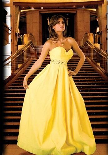 Vestido amarelo lindo para morenas.