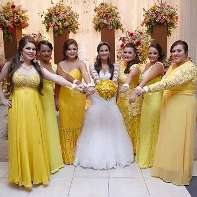 Vestido de festa de casamento amarelo