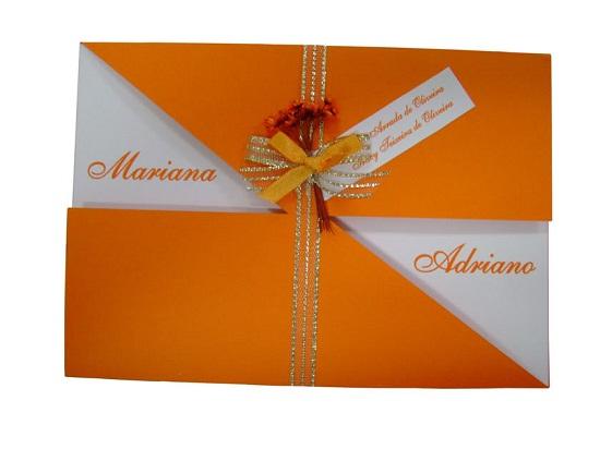 Convite de casamento branco e laranja