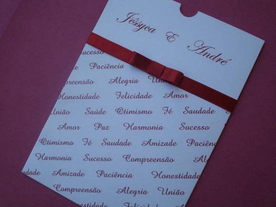 Convites de casamento vermelho, com fitinha e laço