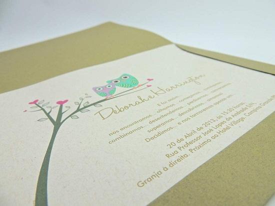 Convite de casamento com papel verde